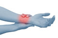 Acute pain in a woman wrist Stock Photos