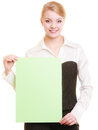 Ad businesswoman holding blank copy space banner advertisement young woman green isolated on white recommending your product Stock Photos