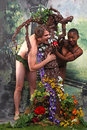 Adam and eve with added theme of interracial unions playful rendition Stock Photos