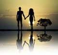 Adam and eve in the eden illustration of Stock Photos