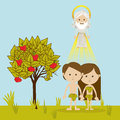 Adam and eve over landscape background vector illustration Royalty Free Stock Photography