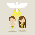 Adam and eve over white background vector illustration Royalty Free Stock Photo