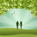 Adam and eve silhouette in the creation illustration of Stock Photo