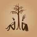 Adam and Eve sitting under a tree Stock Images