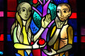 Adam and eve a stained glass photo of Stock Image