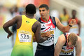Adam gemili r great britain greets jazeel murphy l jamaica th world junior athletics championships olympic stadium july barcelona Stock Photo