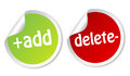 Add and Delete stickers Stock Photo