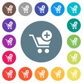 Add item to cart flat white icons on round color backgrounds Royalty Free Stock Photo