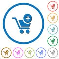 Add item to cart icons with shadows and outlines Royalty Free Stock Photo