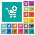 Add item to cart square flat multi colored icons Royalty Free Stock Photo