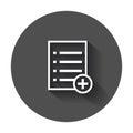 Add list document icon vector flat illustration.