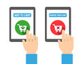Add to cart buttons for web print or for mobile apps flat design style Stock Photo