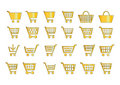 Add to cart icons gold Royalty Free Stock Photo
