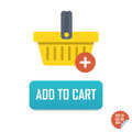 Add to Cart Vector button icon with basket. Isolated buttons for website or mobile application.
