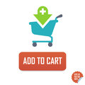 Add to Cart Vector button icon with cart. Isolated buttons for website or mobile application.