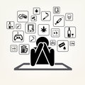Addict man and set of addiction symbols
