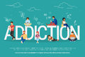 Addiction concept illustration of young people using devices such as laptop, smartphone, tablets