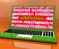 Addiction laptop means obsession craving and attachment online meaning Stock Photos