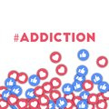 Addiction. Social media icons in abstract shape background with scattered thumbs up and hearts.