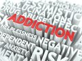 Addiction the wordcloud concept medical word in red color surrounded by a cloud of words gray Royalty Free Stock Images