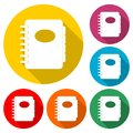 Address book icon, color icon with long shadow Royalty Free Stock Photo