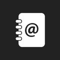 Address book icon. Email note flat vector illustration on black Royalty Free Stock Photo