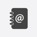 Address book icon. Email note flat vector illustration on white Royalty Free Stock Photo