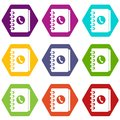 Address book icon set color hexahedron Royalty Free Stock Photo