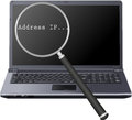 Address ip magnifier laptop and Royalty Free Stock Images