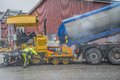 Adds new asphalt it built a commercial building in halden norway just at the tista river the building is almost finished and there Royalty Free Stock Photo
