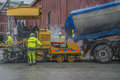 Adds new asphalt it built a commercial building in halden norway just at the tista river the building is almost finished and there Stock Image