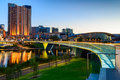 Adelaide city at night south australia january lights and riverbank bridge across torrens river Royalty Free Stock Photo