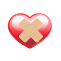 Adhesive bandage on red heart isolated white Stock Photos