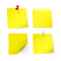 Adhesive notes with pin clip vector illustration Stock Photography