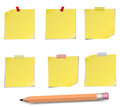 Adhesive notes with pin scotch and pensil on white Stock Photography