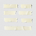 Adhesive tape set on transparent background. Vector realistic illustration.