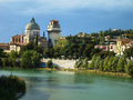 Adige river front in verona italy – october Royalty Free Stock Images