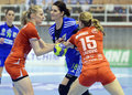 Adina meirosu of oltchim ramnicu valcea pictured in action during a ehf champions league game between and slovenian handball Royalty Free Stock Image