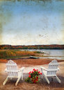 Adirondack Chairs by the Sea on Grunge Background Stock Images