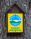 Adirondack forest preserve sign designating land as part of in the ny park Stock Photo
