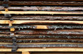 Adirondack siding boards background stack of fresh rough cut Stock Images