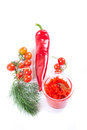 Adjika fresh grated red pepper and chili Stock Photos