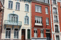 Adjoining buildings were built in different styles in lille france on june Royalty Free Stock Images