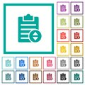 Adjust note priority flat color icons with quadrant frames Royalty Free Stock Photo