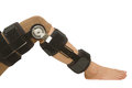 Adjustable angle knee brace support for leg or knee injury Royalty Free Stock Photo