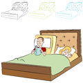 Adjustable bed an image of people in an Royalty Free Stock Images