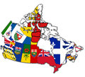 Administration map of canada with flags administrative divisions Stock Photos