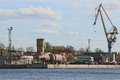 Admiralty shipyards view from the neva river on the territory of shipyard the unfinished building of the submarine and other Stock Image