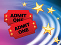 Admission Tickets on Abstract Liquid Wave Background Royalty Free Stock Photo