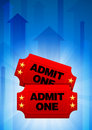 Admission Tickets on Blue Arrow Background Royalty Free Stock Photo